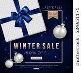 winter sale banner with gift... | Shutterstock .eps vector #534651175