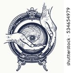 fortune teller tattoo  crystal... | Shutterstock .eps vector #534654979