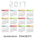vector modern calendar 2017 on... | Shutterstock .eps vector #534658375