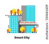 smart city flat icon. material... | Shutterstock .eps vector #534661609