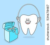 cartoon tooth with dental floss.... | Shutterstock .eps vector #534678487