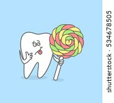 cartoon tooth with candy.... | Shutterstock .eps vector #534678505