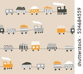 seamless pattern with trains | Shutterstock .eps vector #534684559