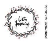 hello january hand lettering... | Shutterstock .eps vector #534689851