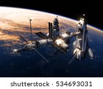 space shuttle and space station ... | Shutterstock . vector #534693031