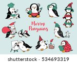 set of hand drawn penguins for... | Shutterstock .eps vector #534693319
