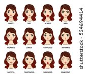 pretty face woman with emotions ... | Shutterstock .eps vector #534694414