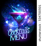 cocktails menu with burning... | Shutterstock .eps vector #534700501