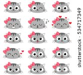 set of cute cartoon cat with...