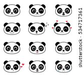 set of cute cartoon pandas with ... | Shutterstock .eps vector #534717361