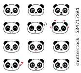 Set Of Cute Cartoon Pandas Wit...