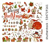vector set of merry christmas... | Shutterstock .eps vector #534719161