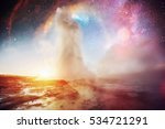 strokkur geyser eruption in... | Shutterstock . vector #534721291