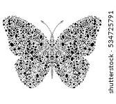 black mosaic butterfly | Shutterstock .eps vector #534725791
