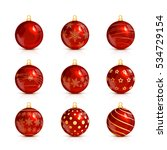 set of decorative red christmas ... | Shutterstock .eps vector #534729154
