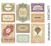 set of 9 ornate vintage labels  ... | Shutterstock .eps vector #53473477