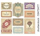 set of 9 vintage labels with... | Shutterstock .eps vector #53473477
