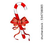 christmas candy cane with red... | Shutterstock .eps vector #534738085