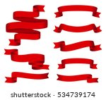 red glossy ribbon vector... | Shutterstock .eps vector #534739174