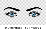Vector Blue Female Eyes With...