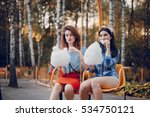 three stylish girls walking... | Shutterstock . vector #534750121