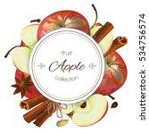 vector apple and cinnamon...   Shutterstock .eps vector #534756574