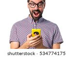 man with glasses talking to... | Shutterstock . vector #534774175