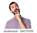 handsome man doing surprise... | Shutterstock . vector #534774799