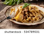 pappardelle pasta with... | Shutterstock . vector #534789031