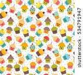 birthday background. kawaii... | Shutterstock .eps vector #534791947