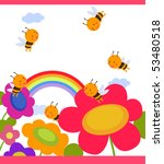 happy garden flower with bees... | Shutterstock .eps vector #53480518