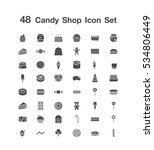 48 candy shop icon set    Shutterstock .eps vector #534806449