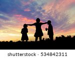 silhouette kids playing happy... | Shutterstock . vector #534842311