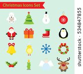 christmas flat color icons set  | Shutterstock .eps vector #534847855