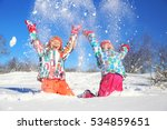 two little girls playing  on... | Shutterstock . vector #534859651