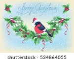 christmas card with garland and ... | Shutterstock .eps vector #534864055