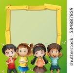 four cute kids in blank frame | Shutterstock .eps vector #534887839