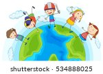 many children playing around... | Shutterstock .eps vector #534888025