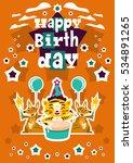 greeting card happy birthday.... | Shutterstock .eps vector #534891265