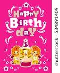 greeting card happy birthday.... | Shutterstock .eps vector #534891409