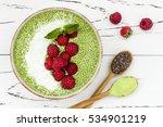 matcha green tea chia seed... | Shutterstock . vector #534901219