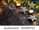 dark christmas background with... | Shutterstock . vector #534909721