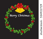 christmas wreath with bells and ... | Shutterstock .eps vector #534922729