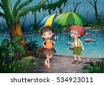 boy and girl being in the rain... | Shutterstock .eps vector #534923011