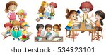 many children doing different... | Shutterstock .eps vector #534923101