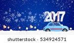 blue retro toy car delivering... | Shutterstock . vector #534924571