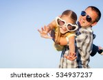 dad and daughter in big... | Shutterstock . vector #534937237