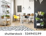 open dining room with table ... | Shutterstock . vector #534945199