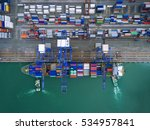 aerial view of cargo ship ... | Shutterstock . vector #534957841