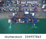 aerial view of cargo ship ... | Shutterstock . vector #534957865